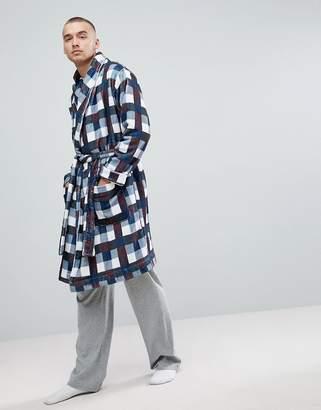 Asos Shawl Neck Fleece Checked Robe