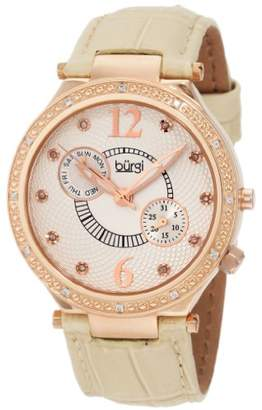 Burgi Women's BU45RG Round Swiss Quartz Diamond Classic Stainless Steel Day Date Watch