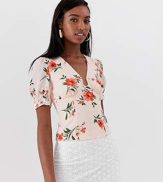 Fashion Union Tall top with ring front detail in floral