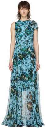Erdem Blue and Green Fitzroy Rose Kassidy Dress