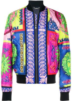 Versace printed quilted bomber jacket