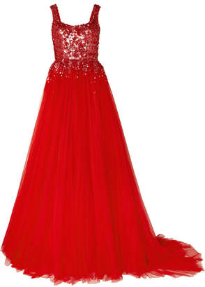 Jenny Packham Adara Embellished Tulle Gown - Red