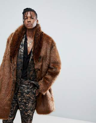 Asos Design Faux Fur Overcoat in Rust