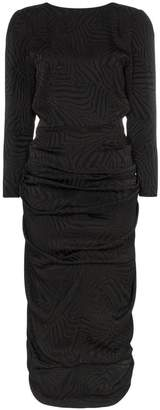 ATTICO zebra print V-back three-quarter sleeve midi dress