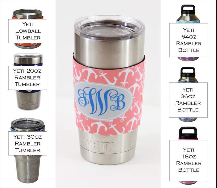 Etsy Monogram Insulator for Yeti Tumbler Sleeve 20 Oz or 30 Ounces Custom Personalized Monogram Bridal Ba