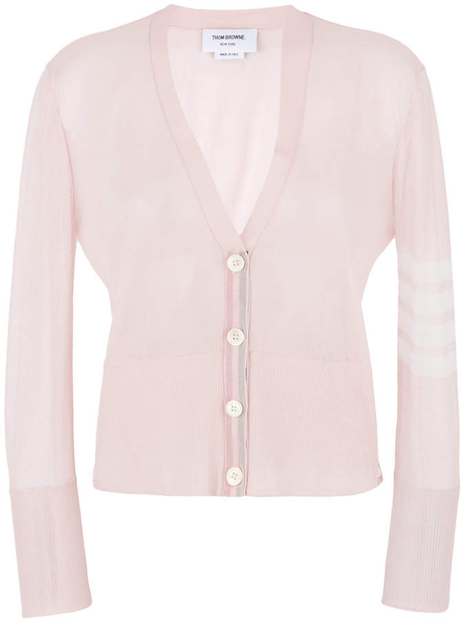 Sheer Classic V-neck Cardigan With 4-bar Stripe In Silk Tulle Knit