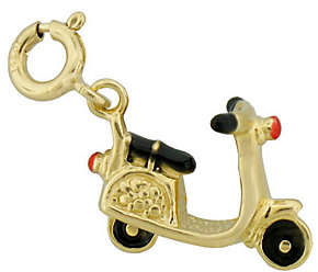 QVC Red and Black Enamel Scooter Charm, 14K Gold