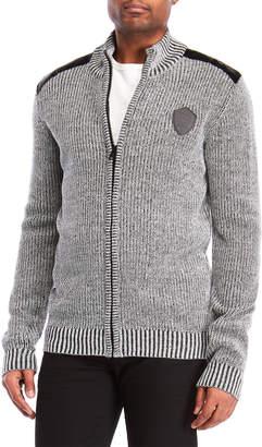 Buffalo David Bitton Mock Neck Marled Zip-Up Sweater
