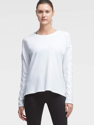 DKNY Long-Sleeve Lace-Up Tee
