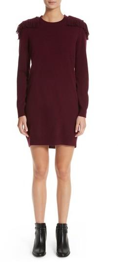 Women's Burberry Neto Wool & Cashmere Fringe Sweater Dress