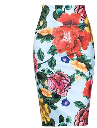 ff89a37aad3 Mywine Women Floral Faux Embroidery Pencil Skirt Stretch High Waist Bodycon  Midi Skirt XL