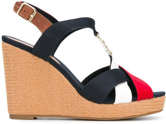 Tommy Hilfiger colourblock wedge sandals $117.69 thestylecure.com