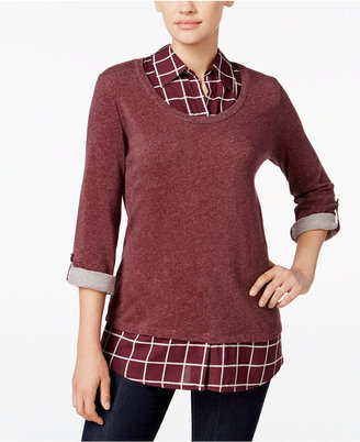 Style & Co. Plaid Layered-Look Sweater, Only at Macy's $49.50 thestylecure.com