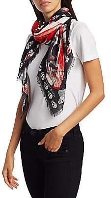 Alexander McQueen Women's Rose Punk Modal Wool Scarf