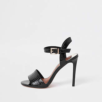 River Island Black two part wide fit skinny heel sandals
