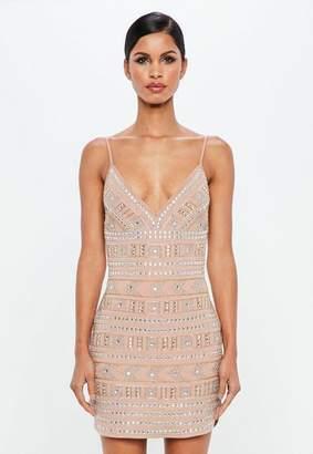 Missguided Nude Geometric Embellished Mini Dress