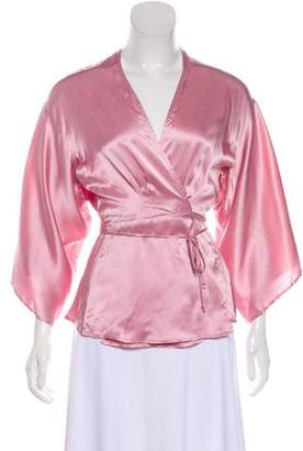 Reformation Satin Wrap Blouse
