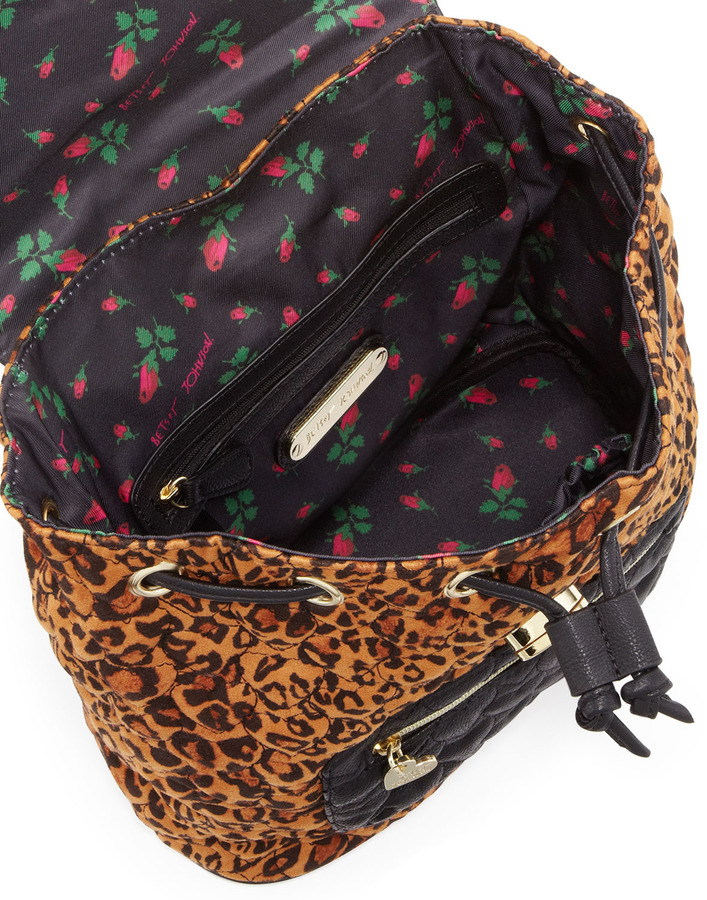 Betsey Johnson Leopard-Print Quilted Backpack