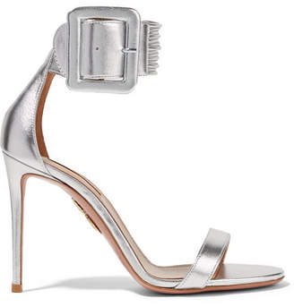 Aquazzura Casablanca Metallic Leather Sandals - Silver