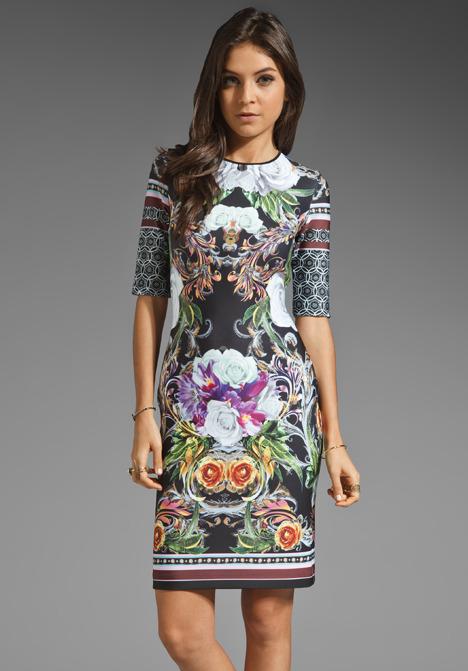 Clover Canyon Baroque Rose Scarf Neoprene Dress