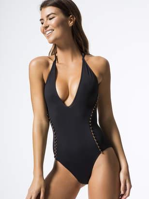 Jonathan Simkhai Pearl Studded Lace Up Back Swimsuit