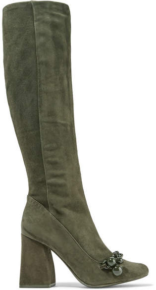 Tory Burch - Addison Chain-trimmed Suede Knee Boots - Army green
