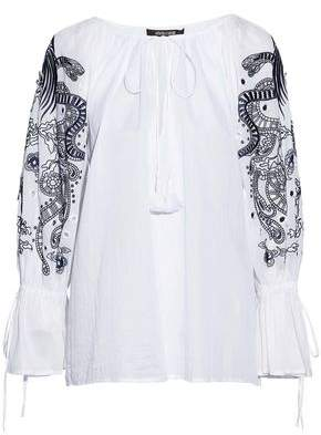 Roberto Cavalli Embellished Gathered Cotton-Gauze Top