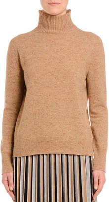 Agnona Melange Cashmere-Tweed Turtleneck Sweater, Camel