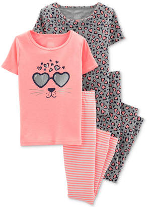 Carter's Carter Little & Big Girls 4-Pc. Printed Pajamas Set