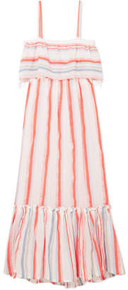 Lemlem Asha Tiered Striped Cotton-blend Gauze Maxi Dress - Papaya