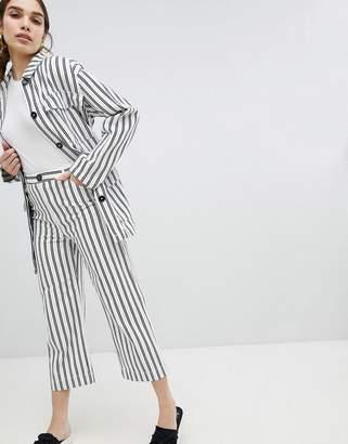 Monki Wide Leg Striped Pants