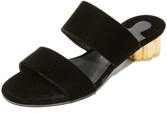 Salvatore Ferragamo Belluno Velvet City Slides $560 thestylecure.com