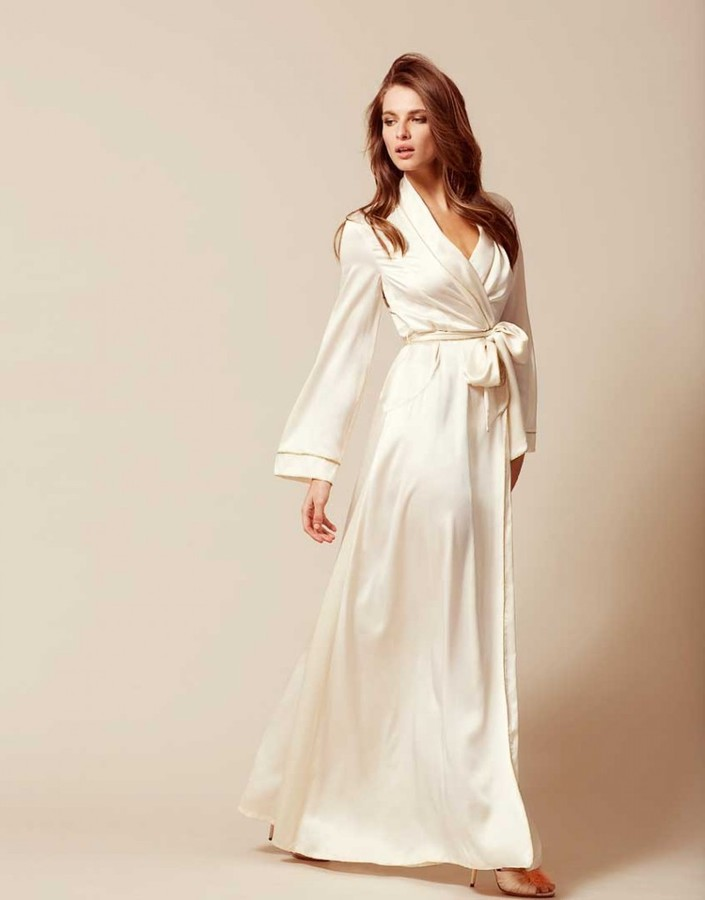 Agent Provocateur Classic Long Dressing Gown Ivory