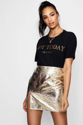 boohoo Not Today New York Slogan Tee