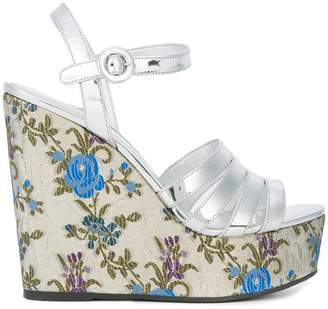 Prada floral print wedge sandals