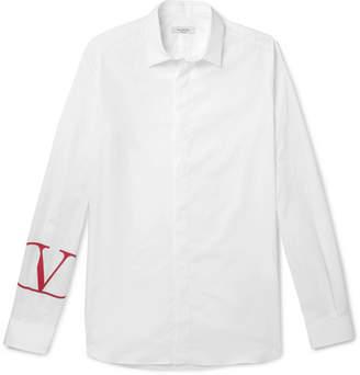 Valentino Slim-Fit Logo-Print Cotton-Poplin Shirt - Men - White