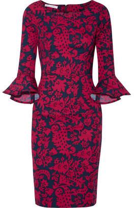 Oscar de la Renta - Printed Stretch-cotton Poplin Dress - Red $1,190 thestylecure.com