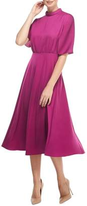 Gal Meets Glam Diane Mock Neck Fit & Flare Midi Dress