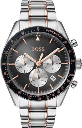HUGO BOSS BOSS Men's Chronograph Trophy Two-Tone Stainless Steel Bracelet Watch 44mm