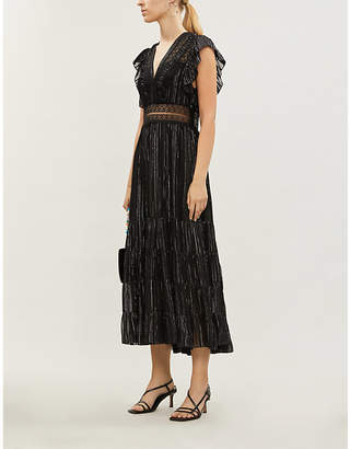 Sandro Lace-trimmed tiered silk-blend dress