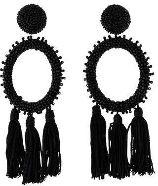 Oscar de la Renta Beaded Circle Tassel Clip-On Earrings