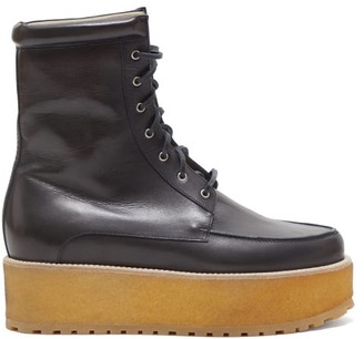 Gabriela Hearst David Leather Flatform Boots - Womens - Black