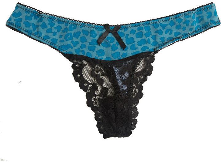 Wet Seal Leopard Web Lace Thong