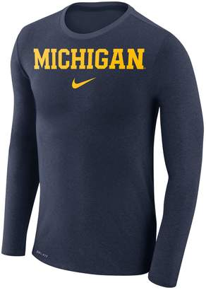 Nike Men's Michigan Wolverines Marled Long-Sleeve Dri-FIT Tee
