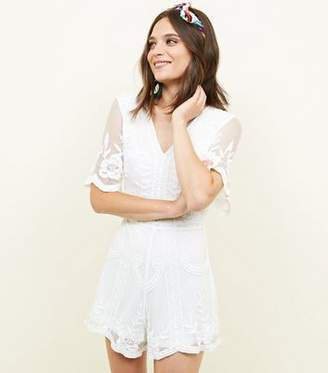 New Look Cream Crochet Embroidered Mesh Playsuit