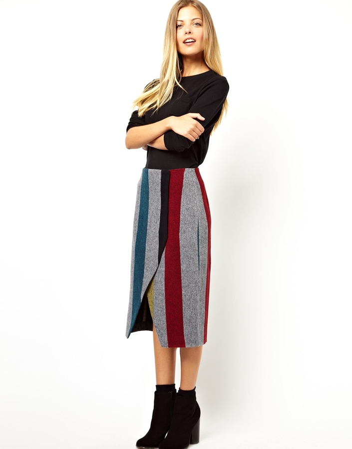 Asos Pencil Skirt with Wrap in Stripe