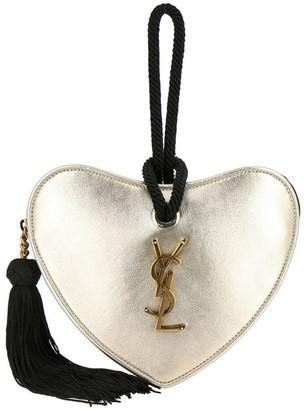 Saint Laurent Mini Bag Sac Coeur Wrist Bag In Laminated Leather