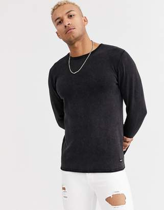 ONLY & SONS crew neck sweater in washed black
