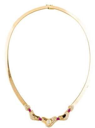 14K Diamond & Ruby Omega Necklace