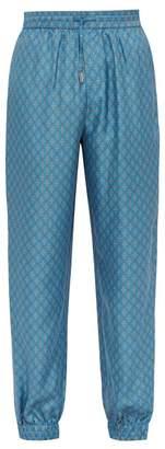 All At Sea - Anchor Print Silk Trousers - Mens - Blue
